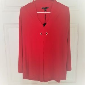 Cable & Gauge Blouse NWT XL & 2X Red 3/4 Sleeve